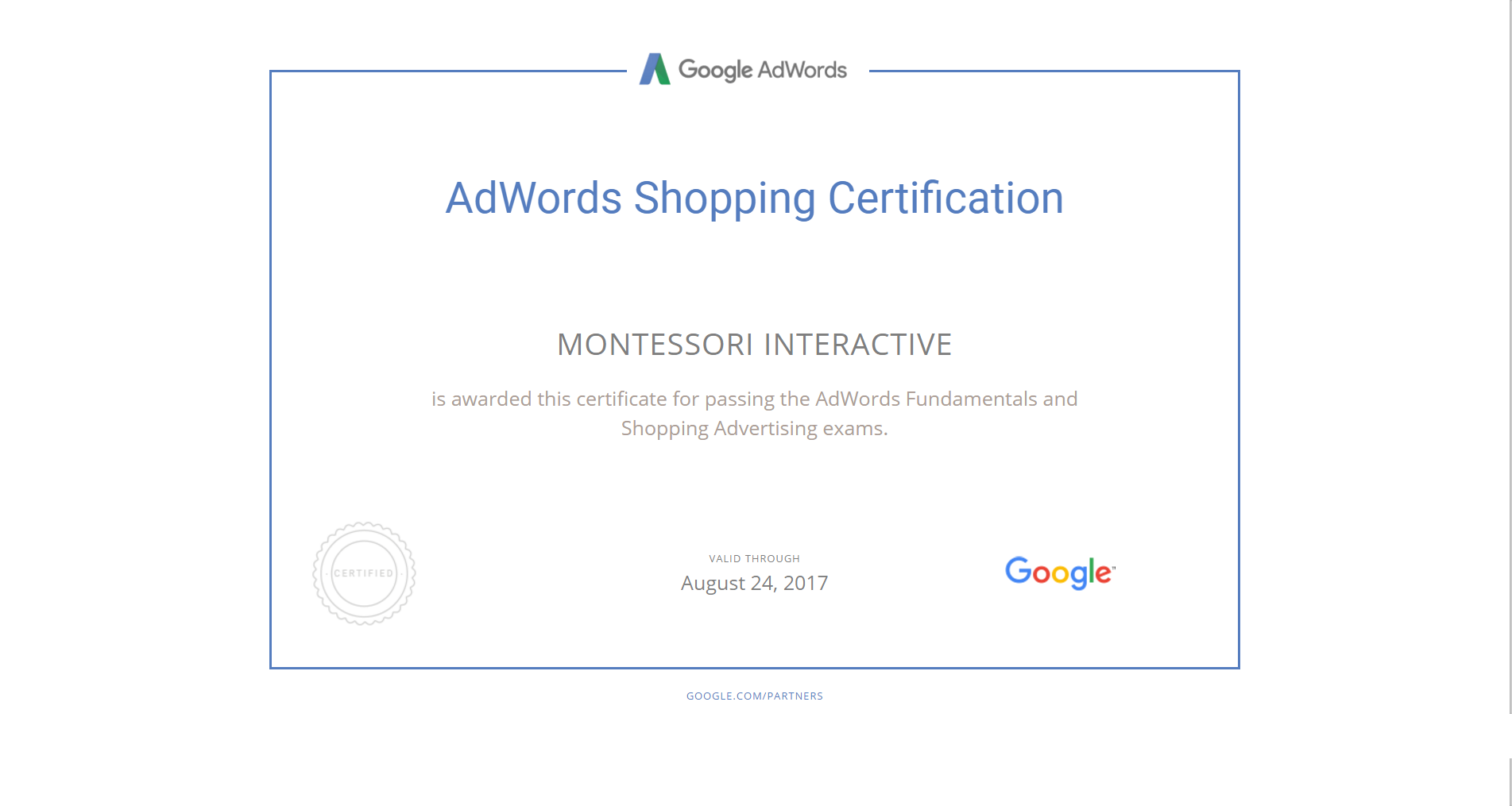 Professionally Certified by Google Adwords